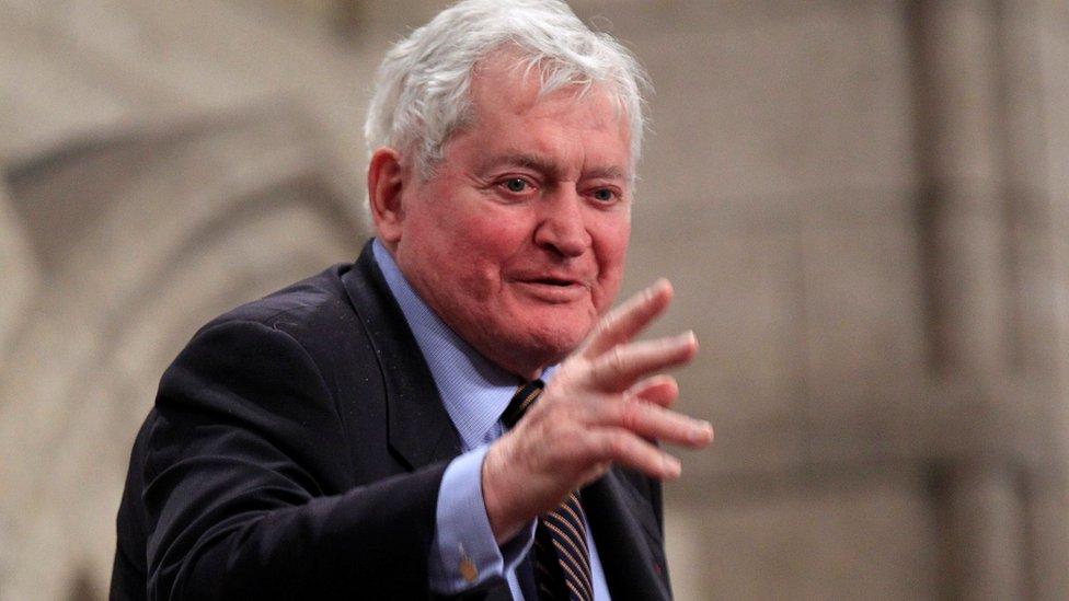 Former Canadian Prime Minister John Turner gestures in Ottawa on 23 June 2011