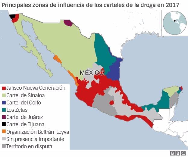 Principales zonas de influencia de los carteles de la droga en 2017