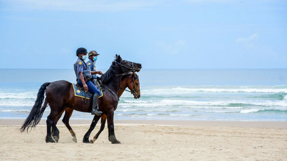 Mounted police during beach closures on December 16, 2020 in Durban, South Africa.