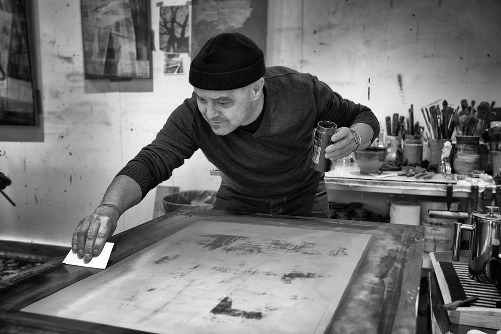 Preparing silk-screen masks: Laughton studio