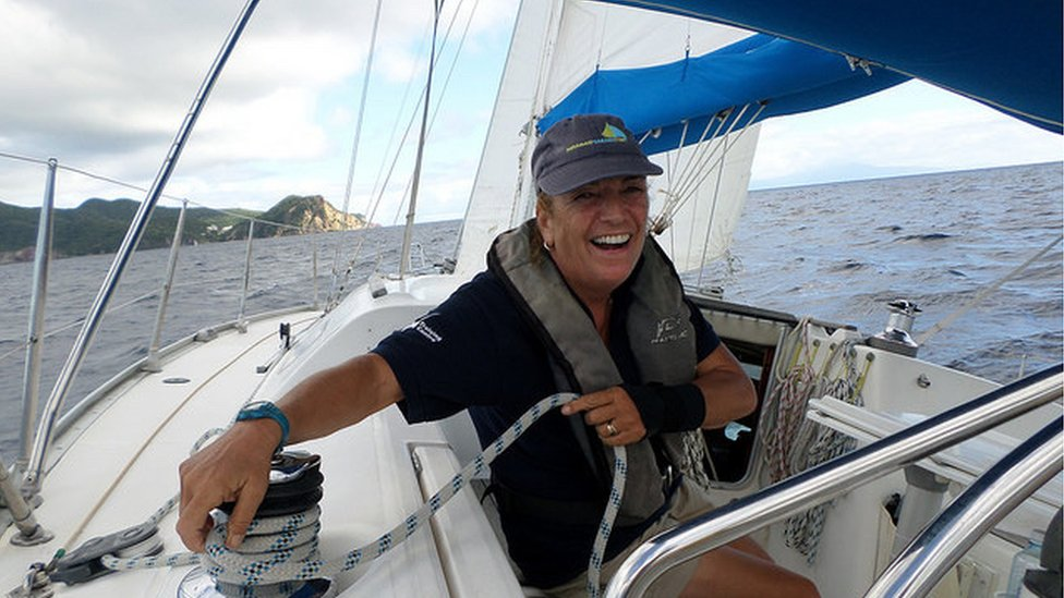 Pippa Turton on board a sailing boat