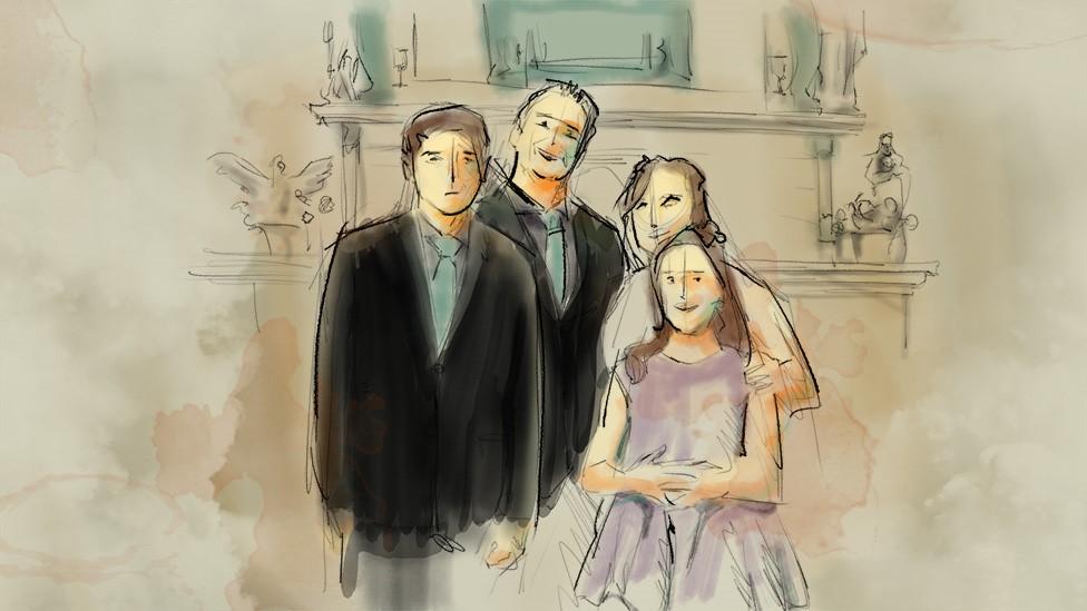 La ilustración muestra a la familia: padre, madre, hijo e hija.