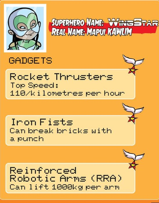 A list of Wingstar's gadgets include rocket thrusters and iron fists