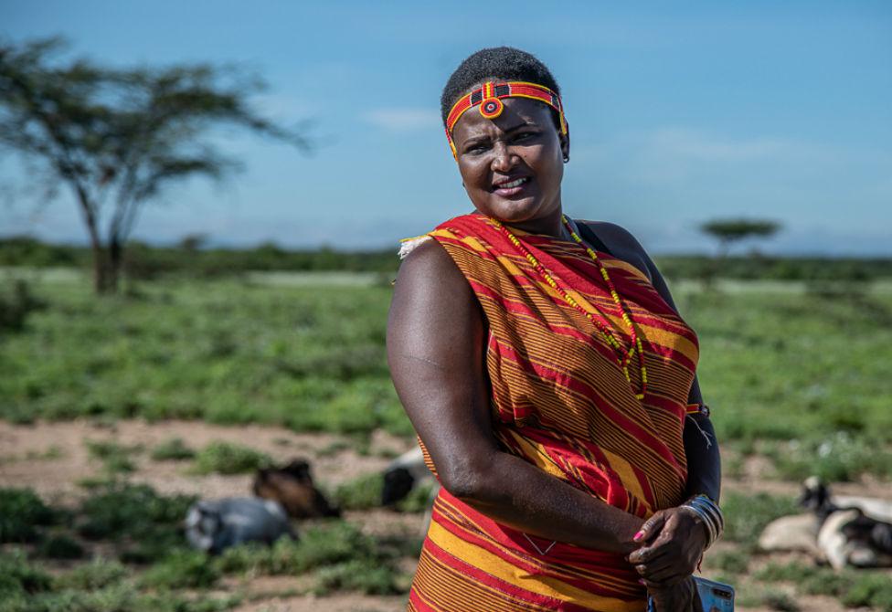 Josephine Ekiru poses for the camera wearing customary dress