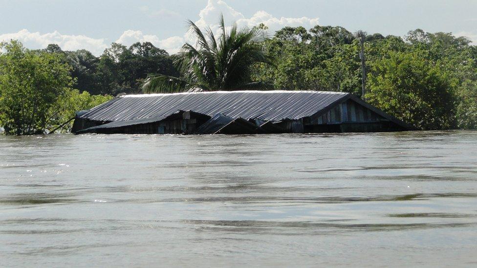 Casa con el agua casi a la altura del techo en el rio Solimoes en 2012