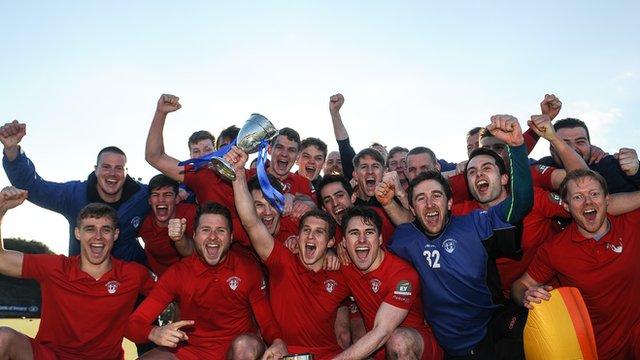 Monkstown players celebrate winning the Irish Senior Cup Final