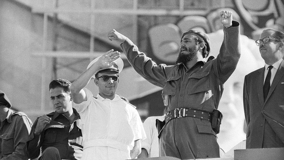 Yuri Gagarin y Fidel Castro en La Habana