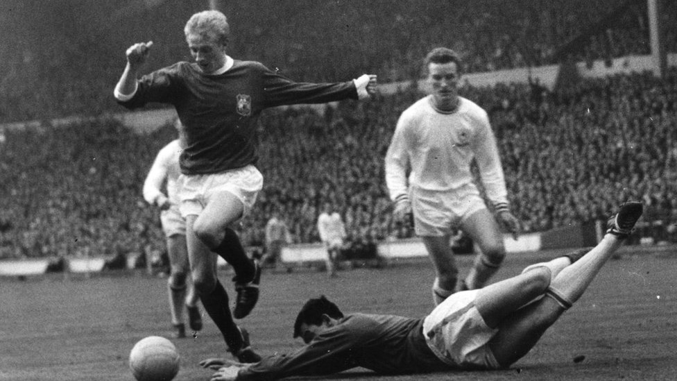 Denis Law in action for Manchester United in the 1963 FA Cup final