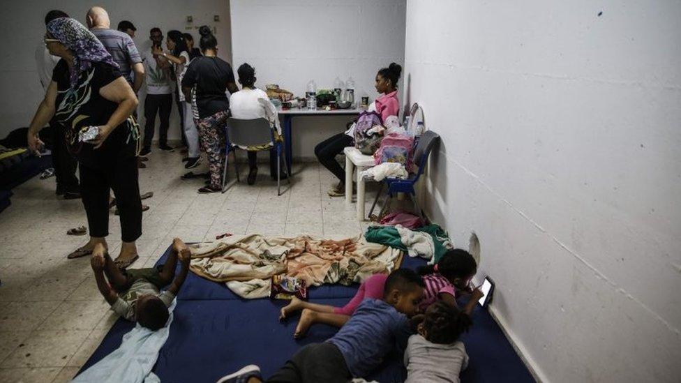Israelis in bomb shelter in Ashkelon (13/11/19)