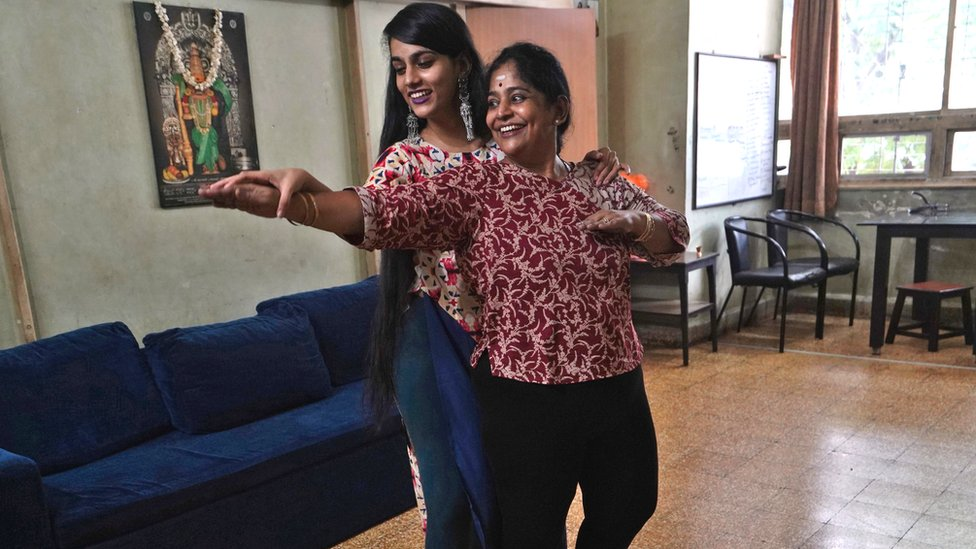 Geetha Sridhar and her daughter Sarada Sridhar dance as they make a video in Mumbai for TikTok