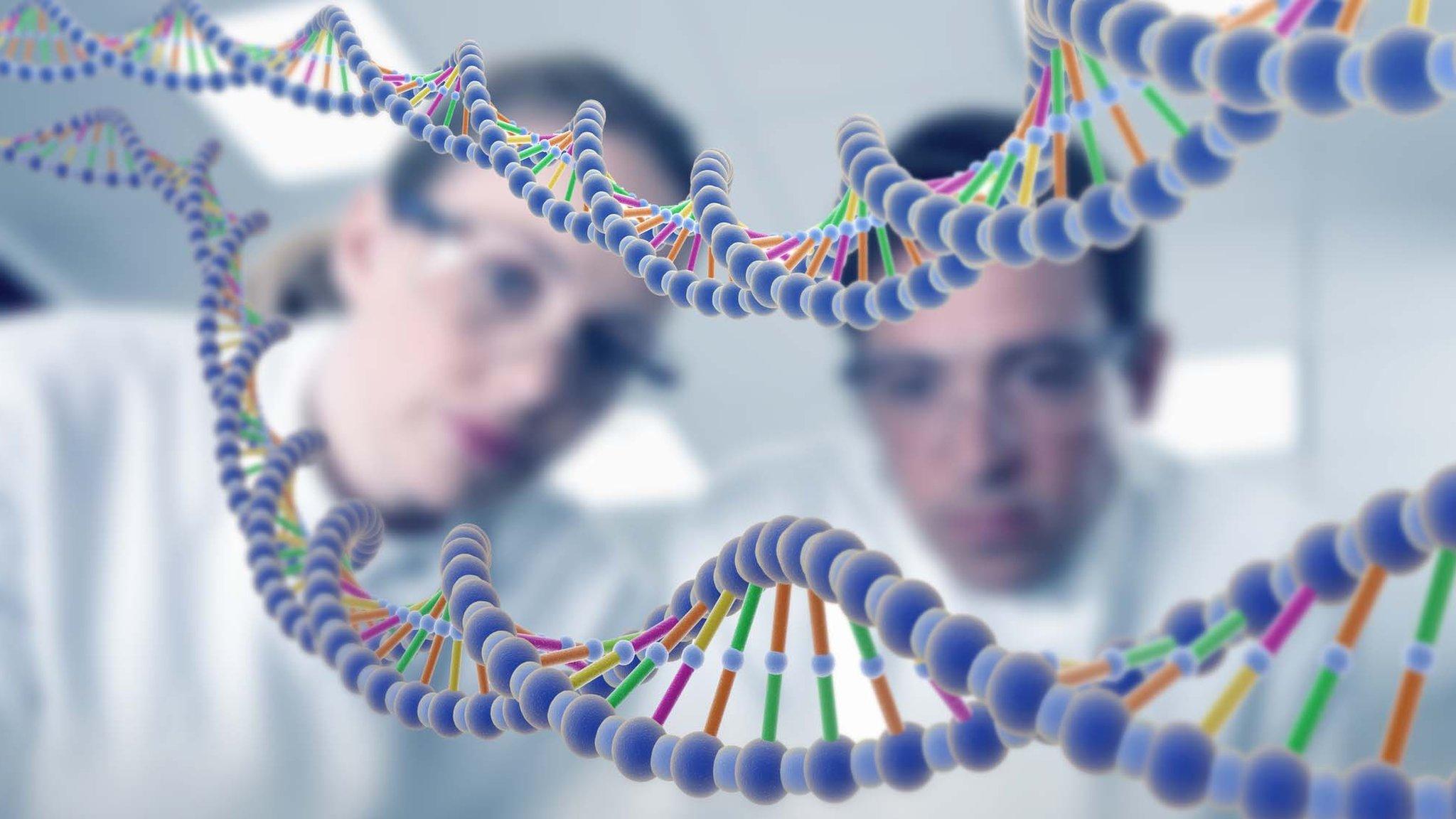 Cientificos miran una secuencia de ADN