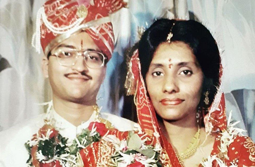 Maria Manjil and Sandeep Jain on their wedding day