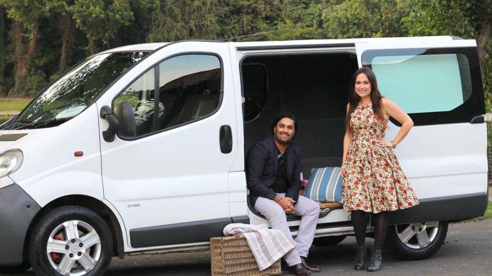 Raj and Elizabeth and their van