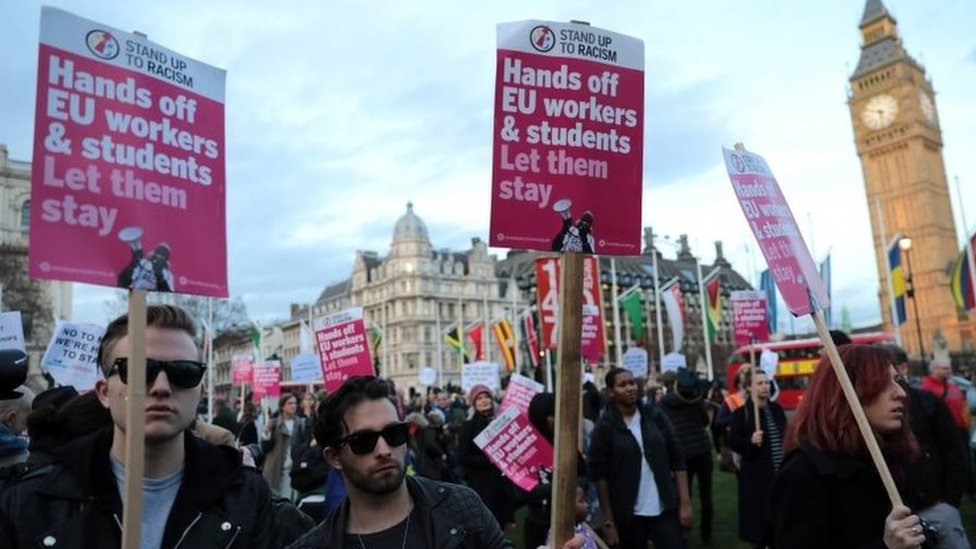 Protestors calling for EU workers to be allowed to stay
