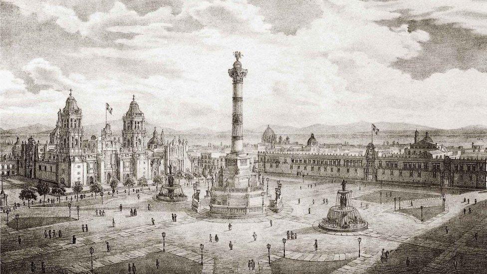 Ilustración de una columna en el Zócalo de Ciudad de México