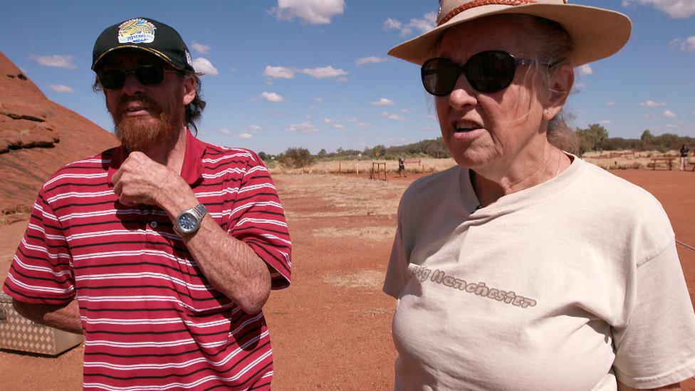 Tourist Pamela at the base of the climb at Uluru