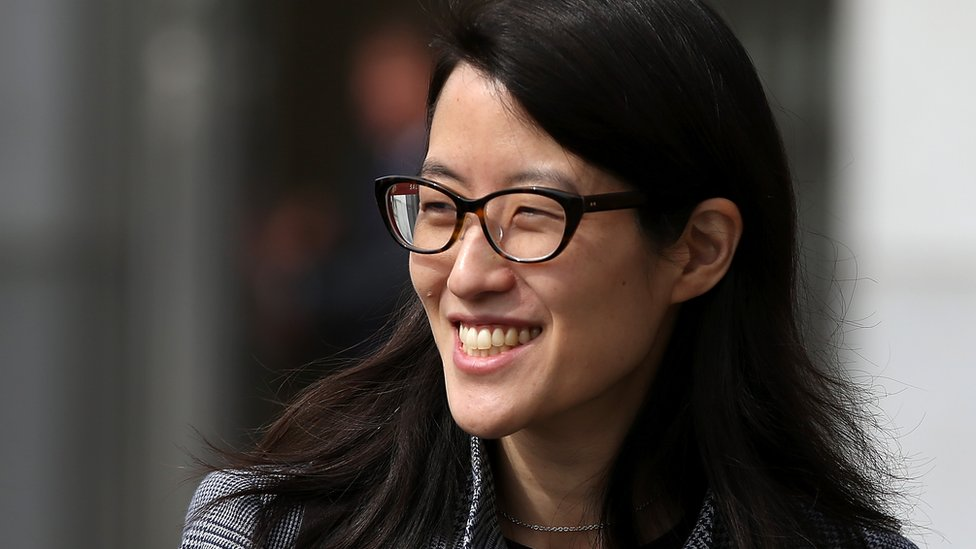 Ellen Pao, pictured wearing glasses, 10 March 2015