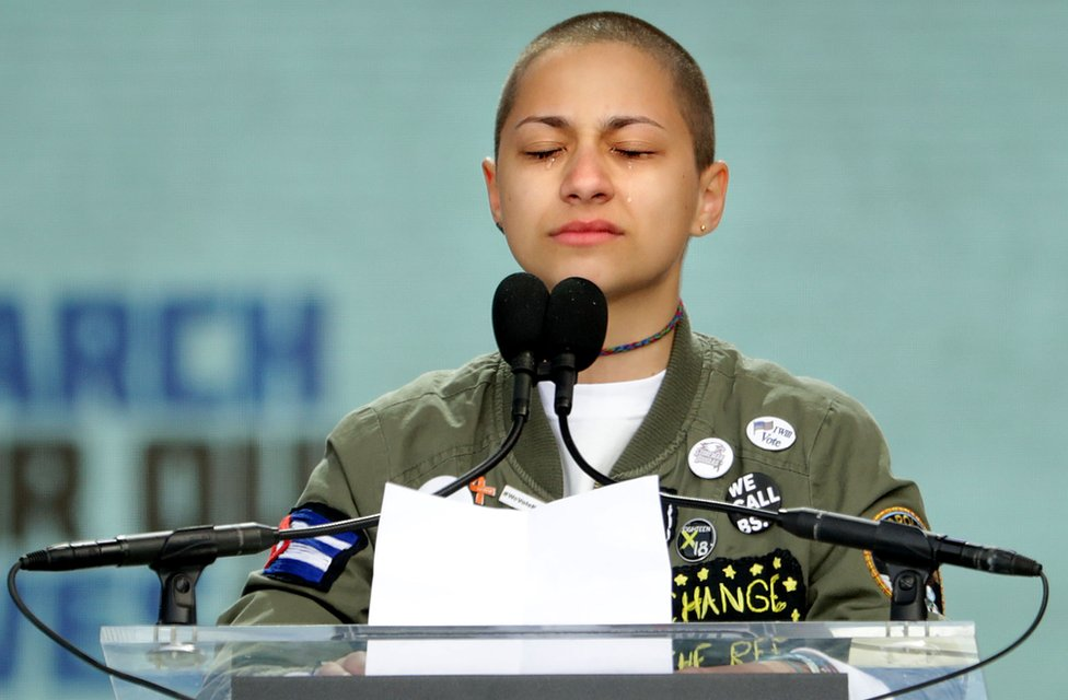 Tears roll down the face of student Emma Gonzalez as she observes 6 minutes and 20 seconds of silence while addressing the March for Our Lives rally on March 24, 2018 in Washington, DC.