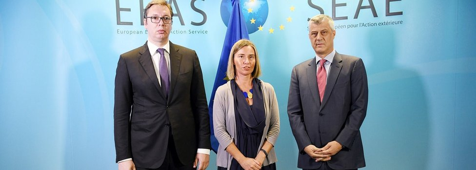 High Representative of the European Union for Foreign Affairs and Security Policy Federica Mogherini (C), President of Kosovo, Hashim Thaci (R) and President of Serbia, Aleksandr Vucic (L) pose for a photo during their meeting in Brussels, Belgium on June 24, 2018