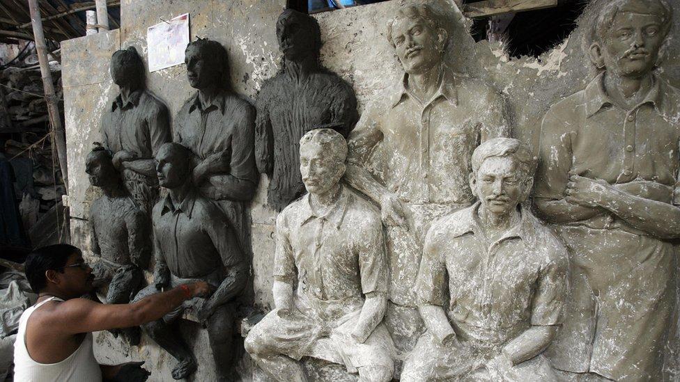 Una mural en honor a los jugadores del Mohun Bagan.