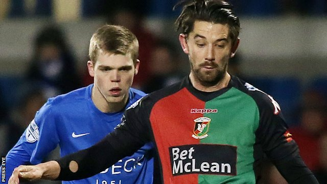 Glentoran's Curtis Allen scores twice in the Irish Premiership win over Glenavon