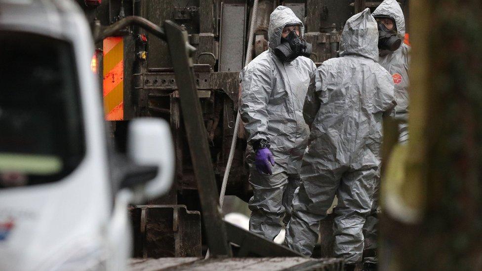 Investigators in Winterslow, near Salisbury on 12 March 2018