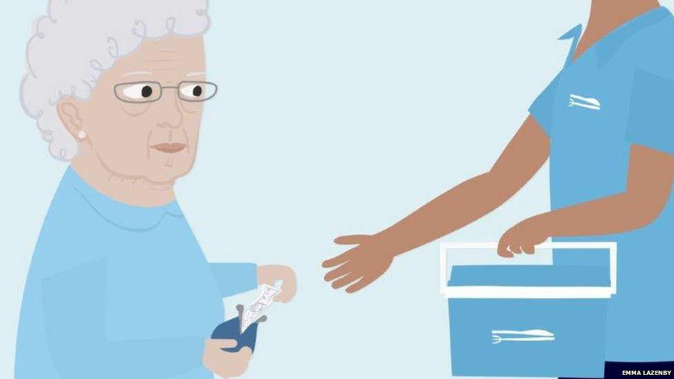 Woman paying for care
