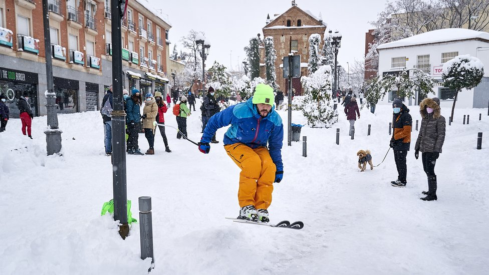 A skier seen in action during the Filomena heavy snowfall