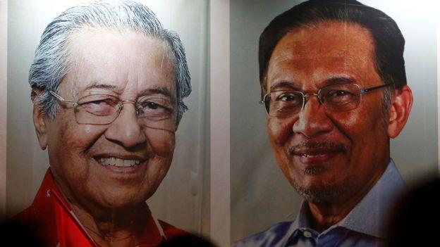 Poster Perdana Menteri Mahathir Mohammad (kiri) dan politikus Anwar Ibrahim.