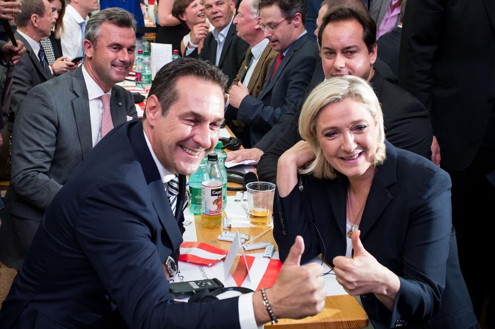 Mr Strache (front, L) with Ms Le Pen and other far-right politicians in Vösendorf, Austria, 17 June 2016