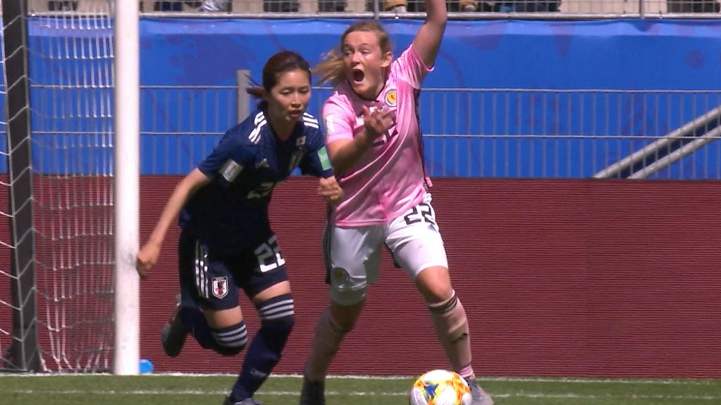 Women's World Cup 2019: Scotland have a penalty appeal turned down after Risa Shimizu handles in the area