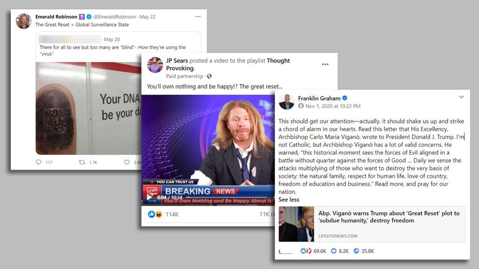 Screenshots of viral Great Reset posts