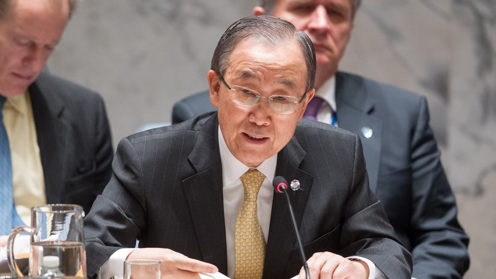 United Nations Secretary-General Ban Ki-moon briefs the Security Council