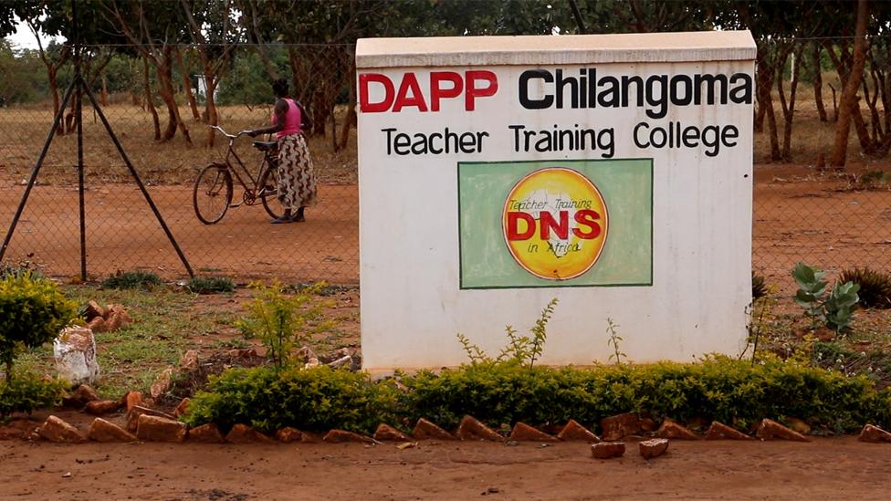 Notice board outside Dapp teacher training college in Chilangoma