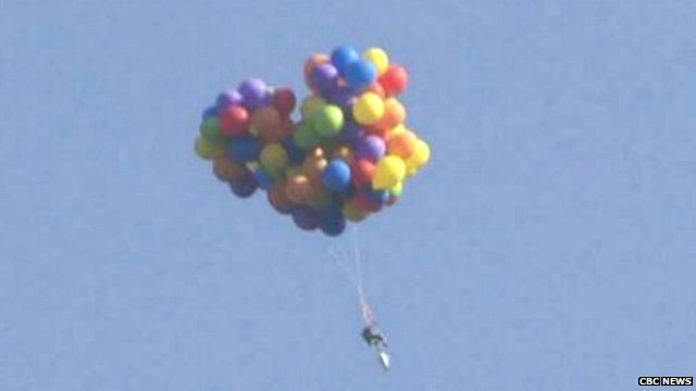 Canadian Flew Over Calgary In Chair Carried By Balloons   BBC News