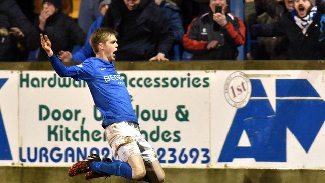 Glenavon's Rhys Marshall celebrates his late winner against Portadown