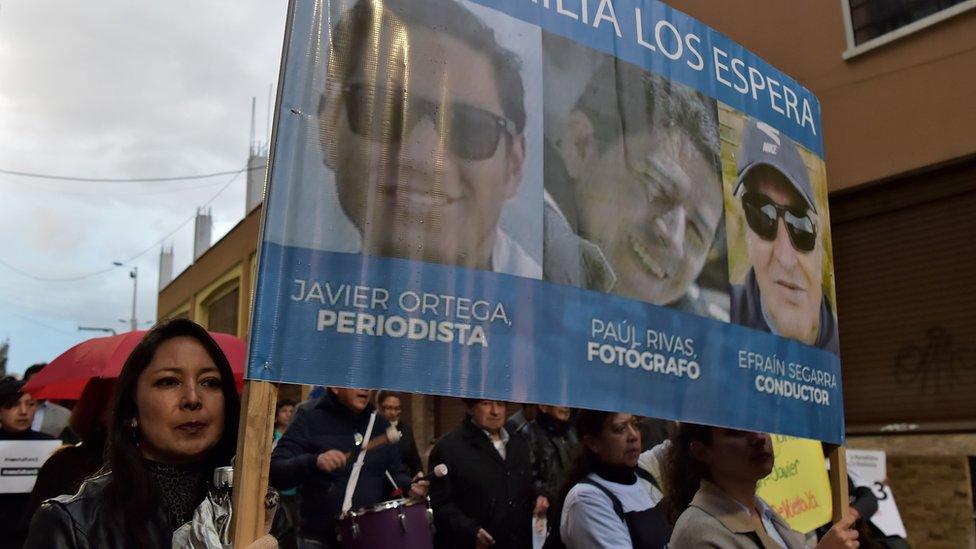 Fotos de los tres ecuatorianos asesinados en abril de 2018
