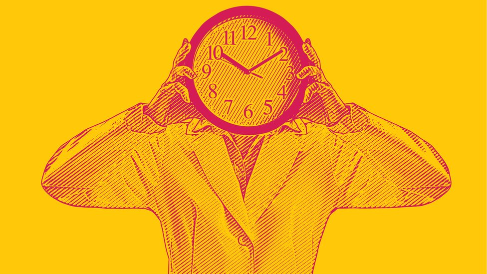 Gráfico de una persona con un reloj en la cabeza