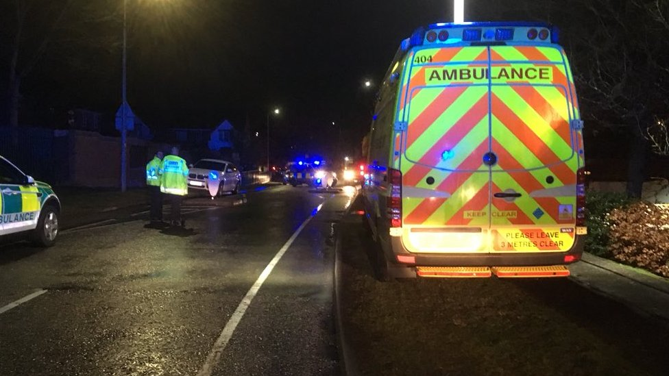Emergency services outside Woodlands View care home in Stevenage, Hertfordshire.