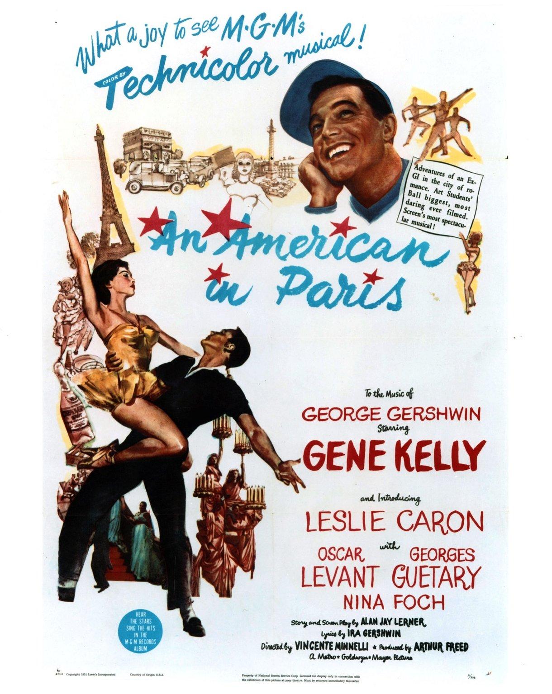 經典音樂劇《一個美國人在巴黎》(An American in Paris)(1951)讓法國首都的好萊塢式愛情幻想得到鞏固。