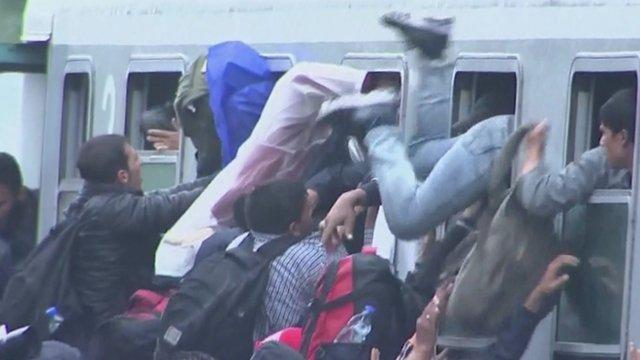 Migrants scrambling to get on board train in Tovarnik Croatia