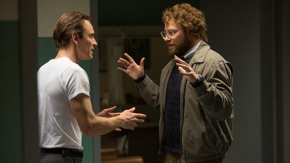 Michael Fassbender, left, as Steve Jobs, and Seth Rogen as Steve Wozniak