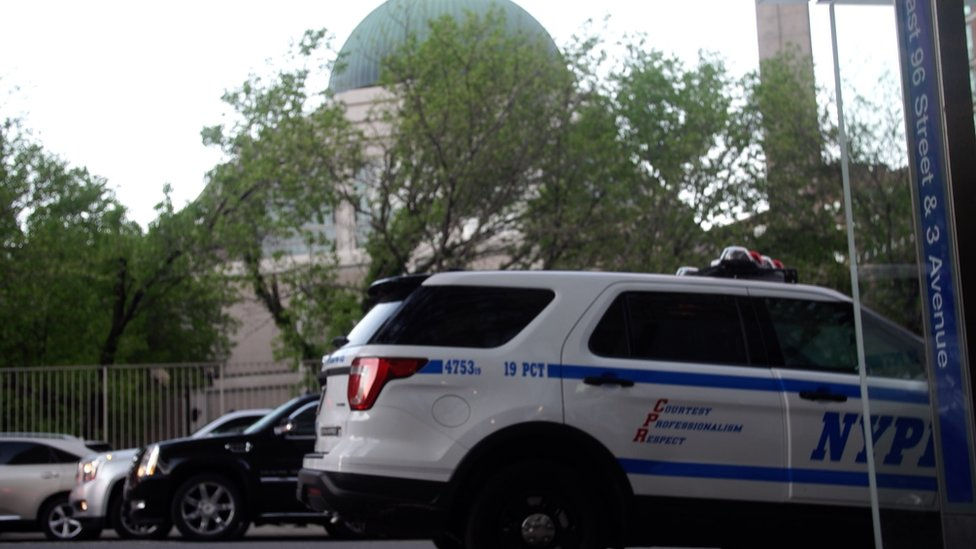 NYPD car outside mosque