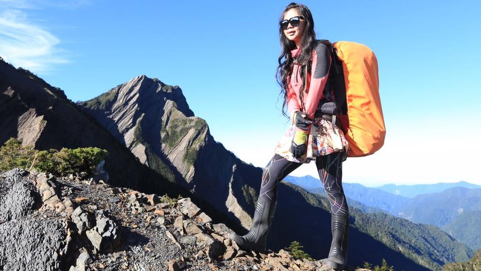 Ms Wu on a mountain
