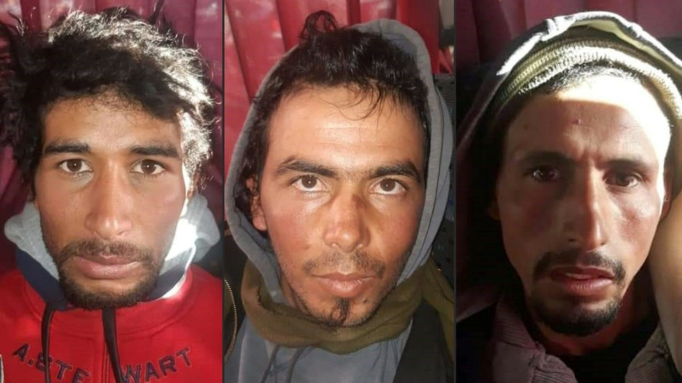 This combination of pictures created on December 20, 2018 shows Rachid Afatti (L), Ouziad Younes (C), and Ejjoud Abdessamad (R), three suspects in the murders of two Scandinavian hikers