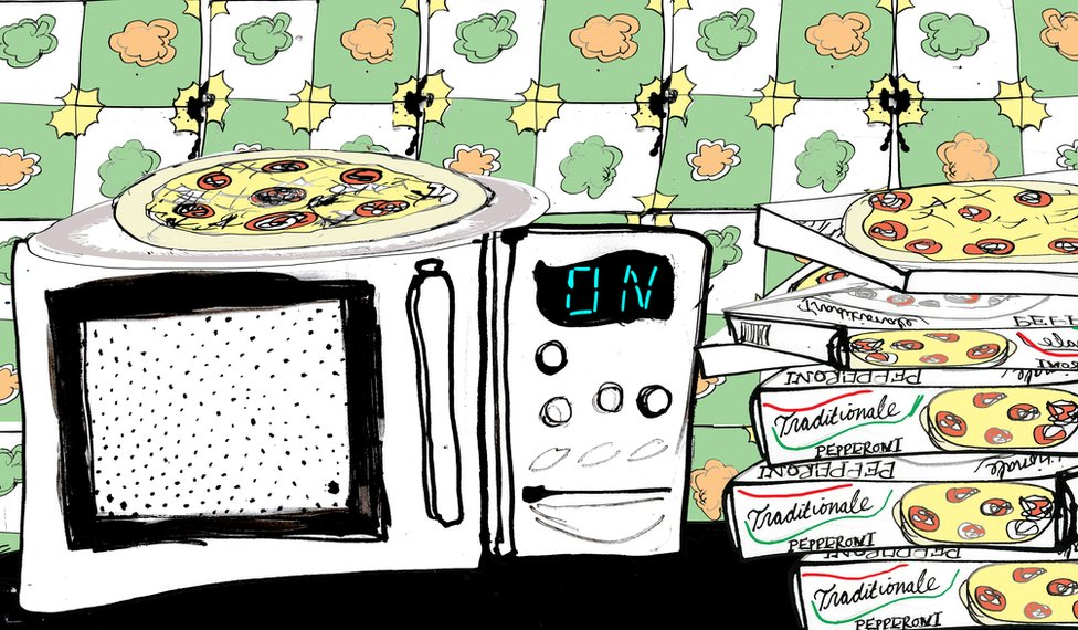 Illustration of a pizza on top of a microwave