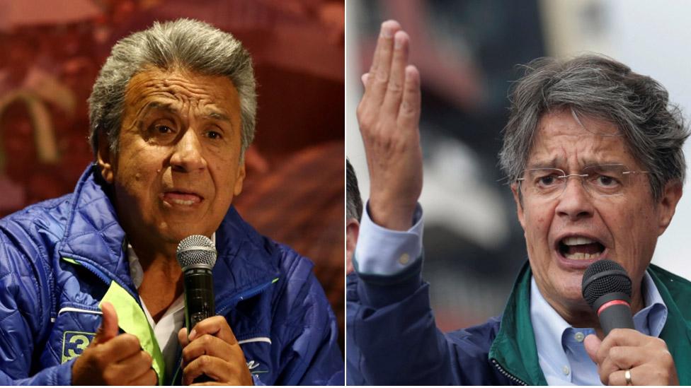A composite picture of Ecuadorean presidential candidates Lenin Moreno and Guillermno Lasso