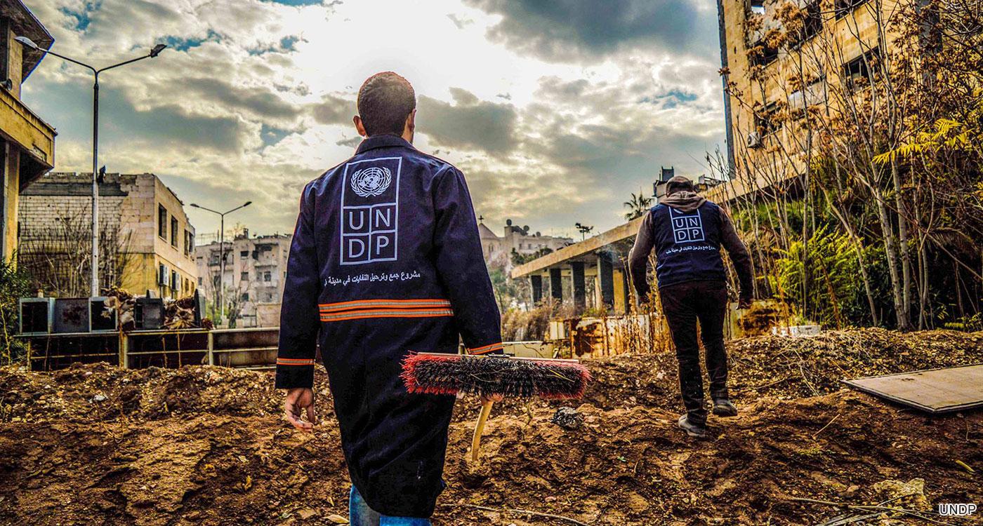 Debris clean up in Aleppo, Syria