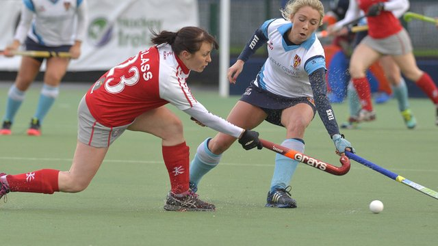 Pamela Glass of Pegasus is challenged by Laura McAlpine in the derby encounter
