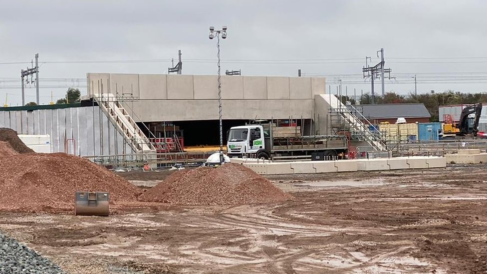 Engineeering work underway to install a huge new concrete railway bridge in north Bristol
